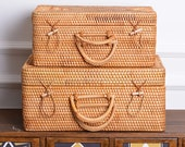 Rustic Woven Suitcase Box, Rattan Storage basket with Handle for Travel, Picnic Basket