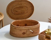Rustic Rattan Basket with Lid for storage, Jewelry Basket, Table Top Storage Box, Storage Basket with Holder