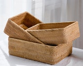 Rustic Woven Rattan Basket, Serving Ottoman Wicker Baskets for Catchall, Fruit Storage Basket