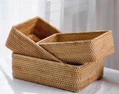 Rustic Woven Basket Rattan Serving Baskets Ottoman Catchall Fruit Weaving Basket