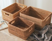 Wicker Woven Basket with Handles, for Home Storage, Rattan Storage Basket, Fruit Basket