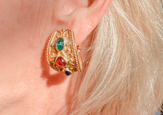 Vintage Gold Tone Byzantine Clip Earrings