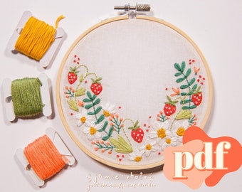Strawberry Floral Embroidery Pattern   Daisy Embroidery   PDF   Hand Embroidery Pattern   Flower Design