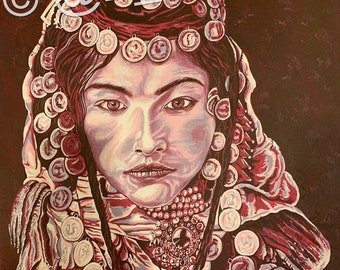 Unique, Traditional Painting, Hijab, Arab, Middle Eastern Culture, Art, Women, Canvas, Wall Decor 18 X 24