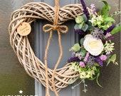 Wild lavender and cream rose wicker heart wreath