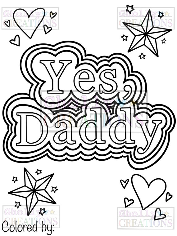 Yes Daddy Ddlg Coloring Page Etsy