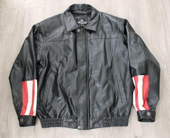 Men Bomber Leather Jacket. USA Patchwork. Eagle Pa