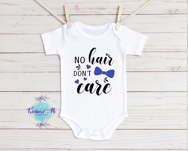 No hair don\u2019t care baby boy onesie with bow tie graphic
