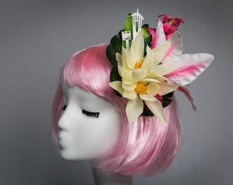 Double White Orchid Flower Hair Clip Rockabilly 1950s Fascinator Tiki Vtg 2994