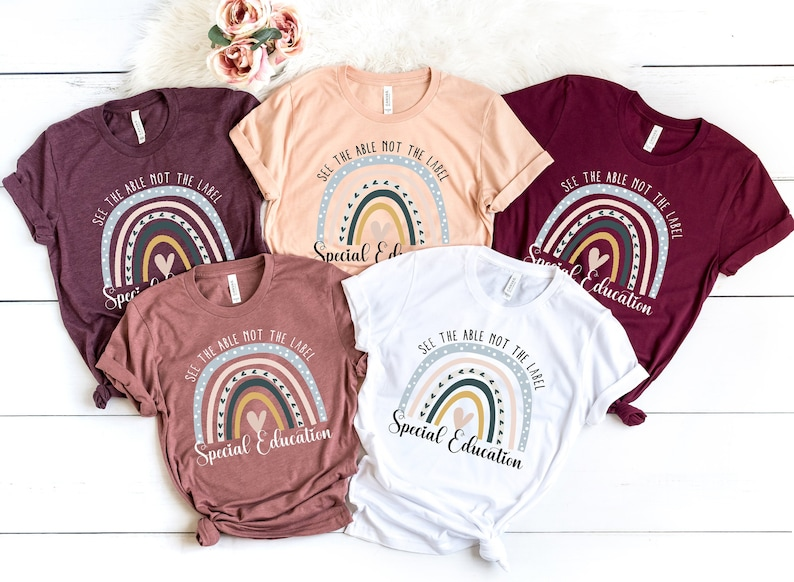 Boho Rainbow See The Able Not The Label Tee Special Education image 0