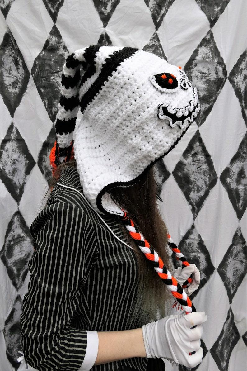 Jack Skellington Nightmare Before Christmas crochet winter hood warm hat cosplay costume fandom winter hat