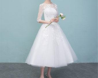 Short Wedding Dress With Sleeves Etsy