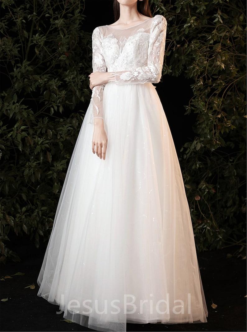 Long Sleeve Wedding Dress Bridal Dress Tulle,Floor Length Wedding Dresses,Applique Bridal Dress Gown,A-line Wedding Dress,Custom Prom Dress