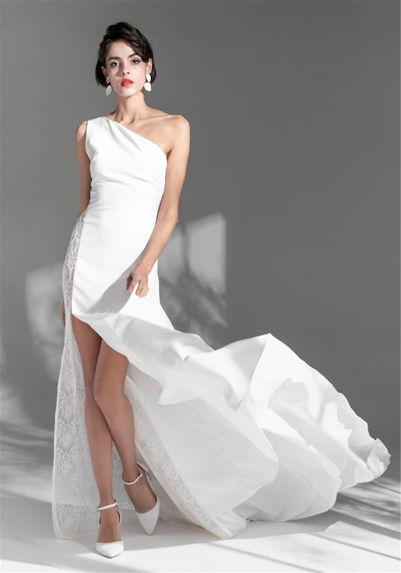 One Shoulder White Satin Prom Dress Wedding Dress Split Evening Dress Sleeveless Brush Train Party Dress Prom Gown Formal Dress Women Girls