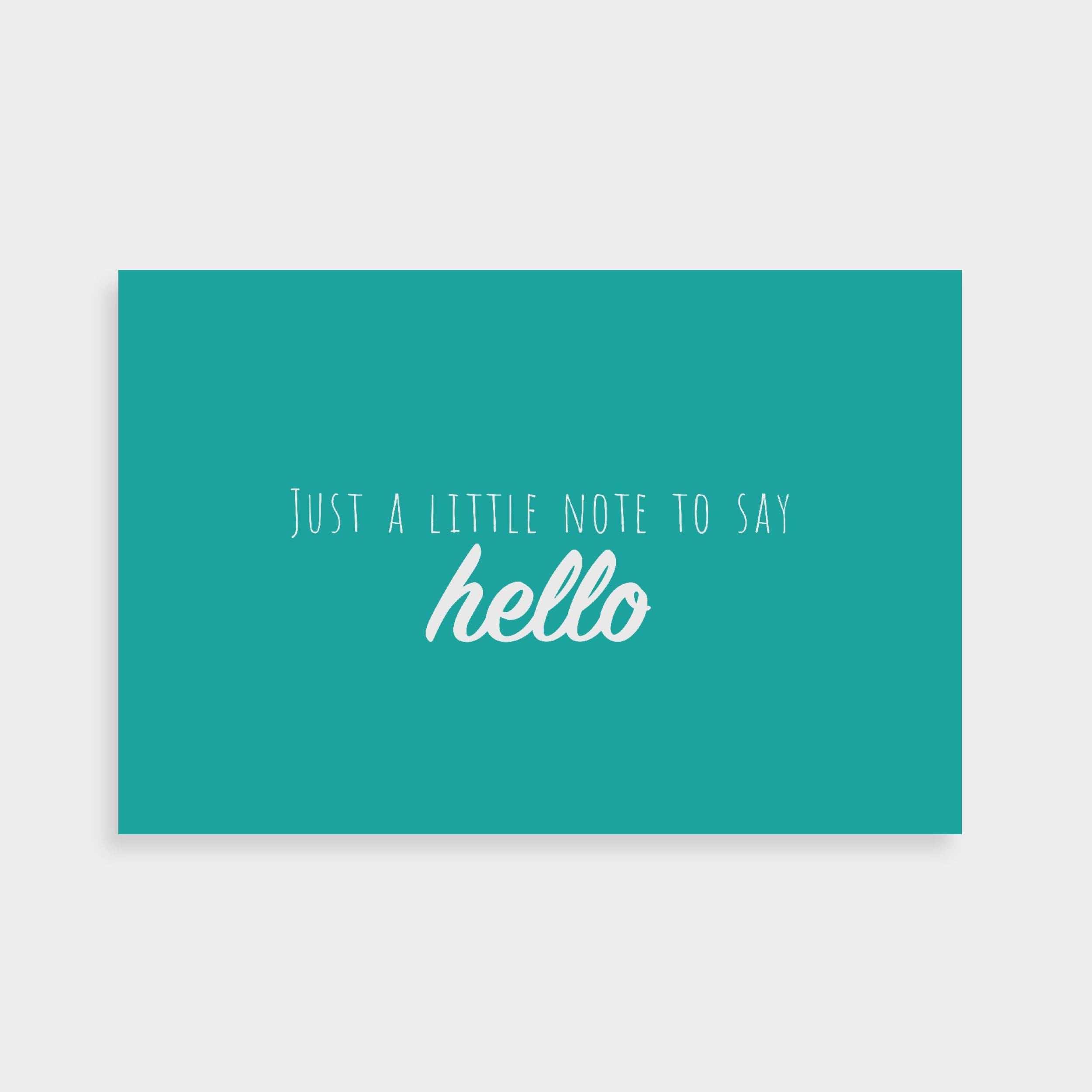 """Teal postcard which says """"Just a little note to look after yourself"""" in a white calligraphy font in the middle"""