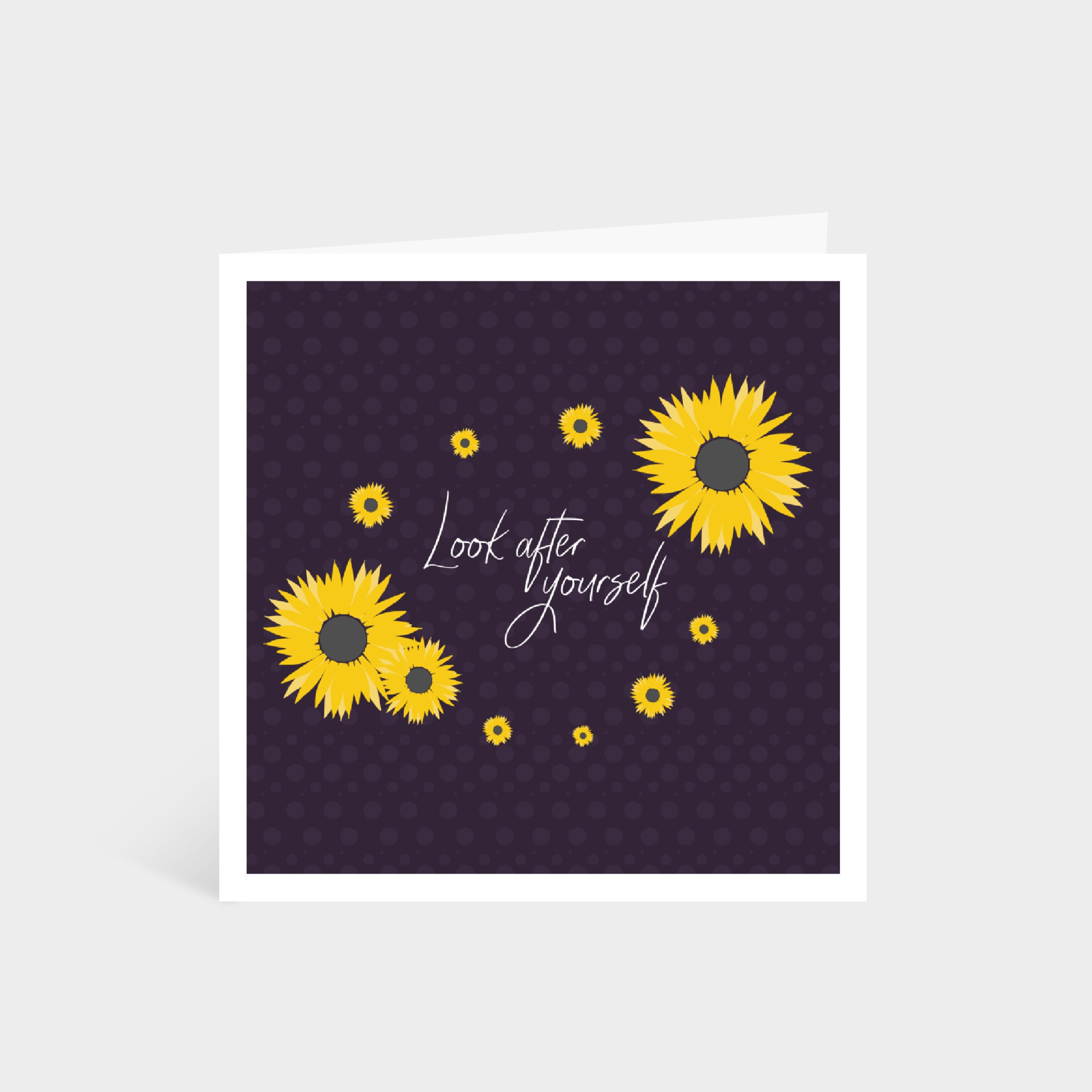 "Standing dark purple square card with illustrated bright yellow sunflowers; says ""Look after yourself"" in calligraphy font in the middle"