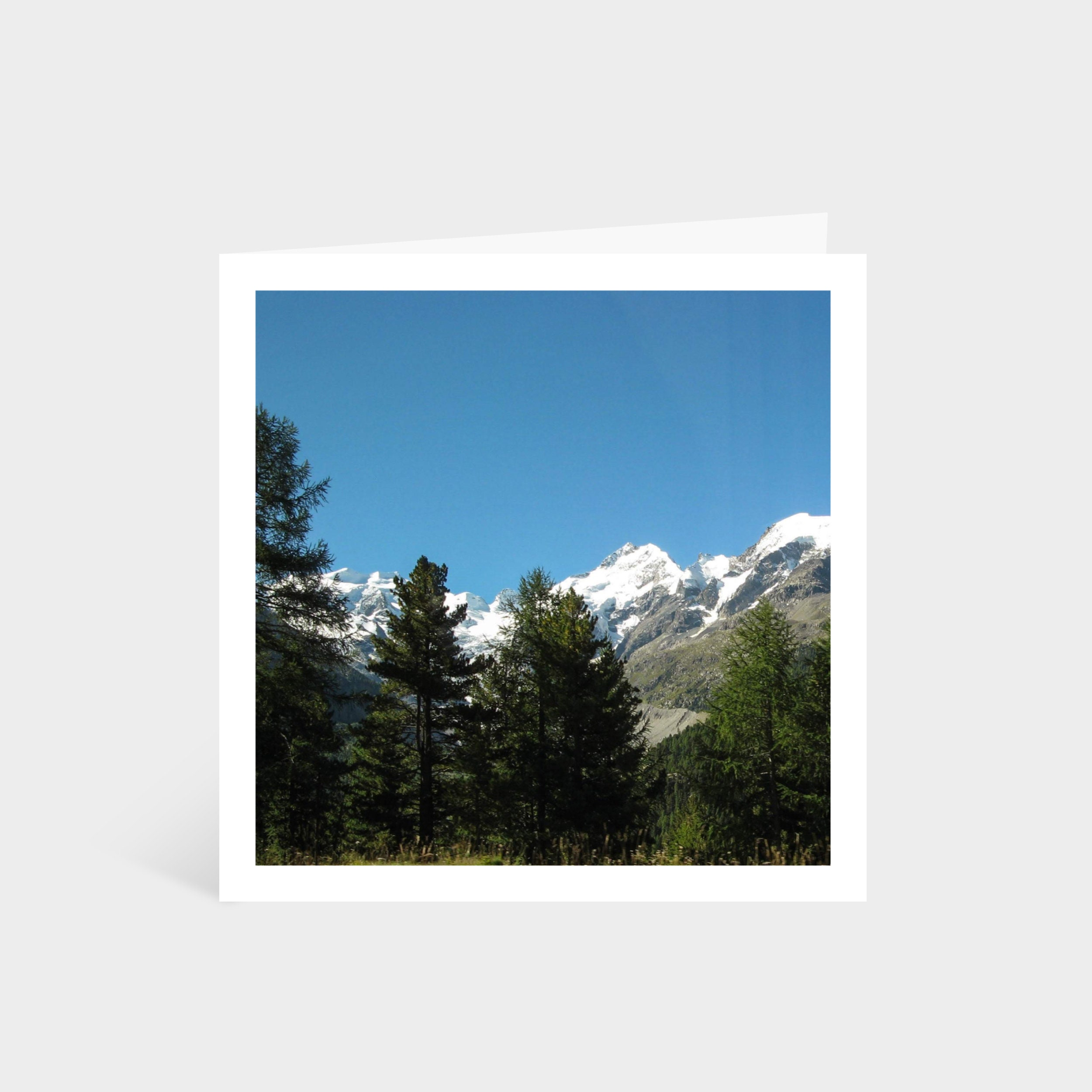 Standing square card with a photo of the snowy alps