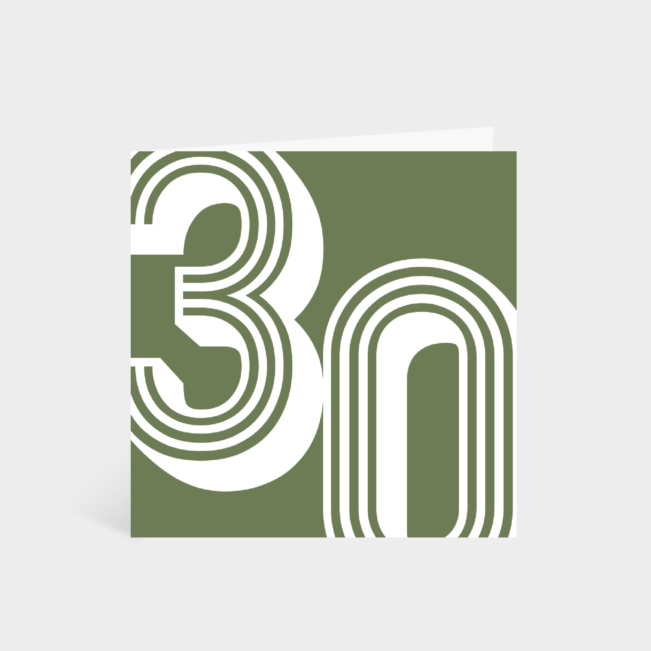 Standing square green card with the number '30' in a white large retro font