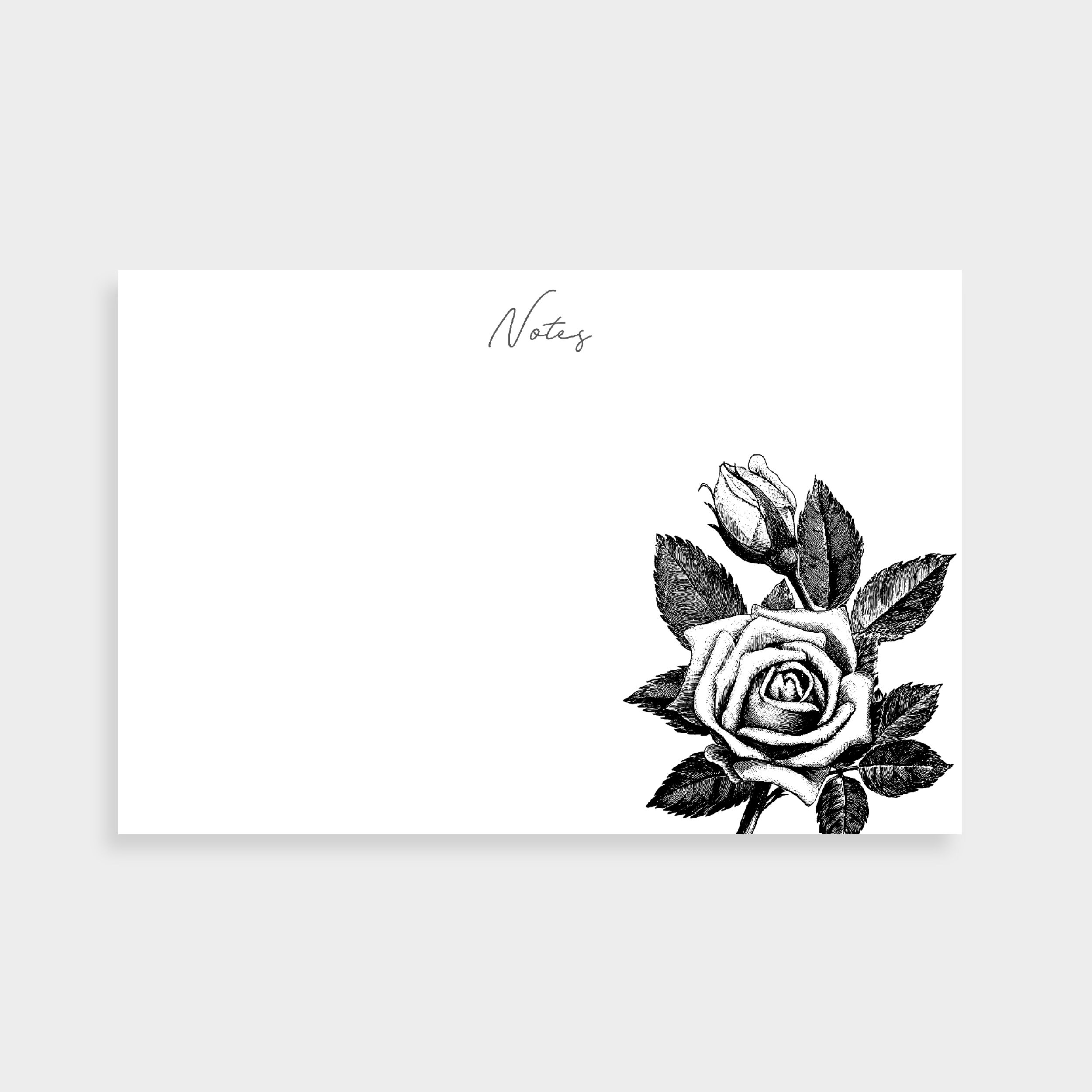 "White notecard with a black and white illustration of a rose in the bottom right. Notecard says ""Notes"" in the top centre."