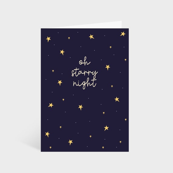 Standing navy blue card with gold stars scattered around. Text in the centre says 'Oh starry night.