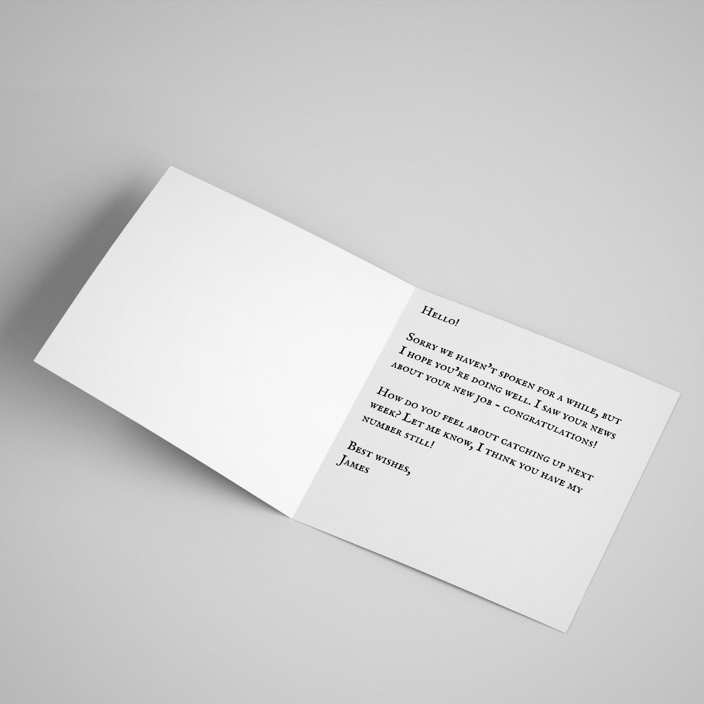 Open card with a custom printed message as specified by the customer - can be sent directly to recipient