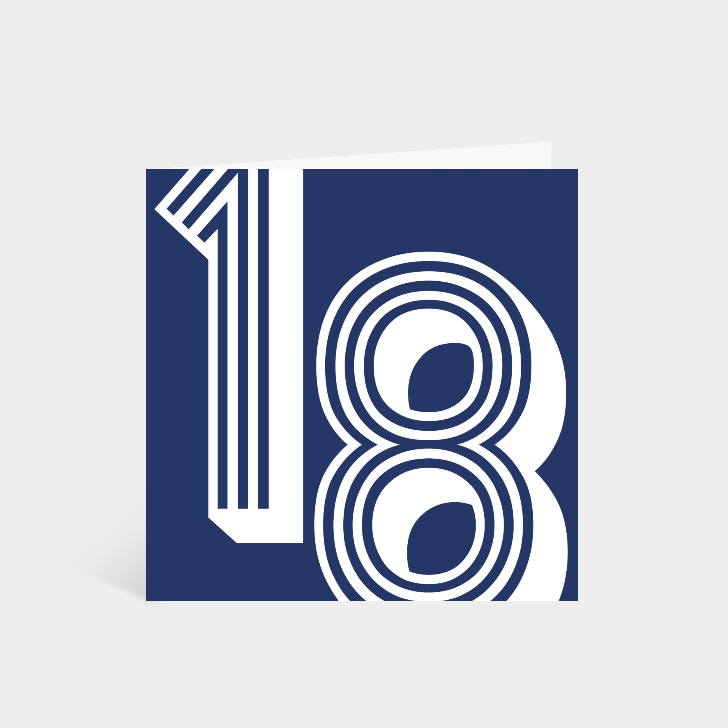 Standing square navy card with the number '18' in a white large retro font
