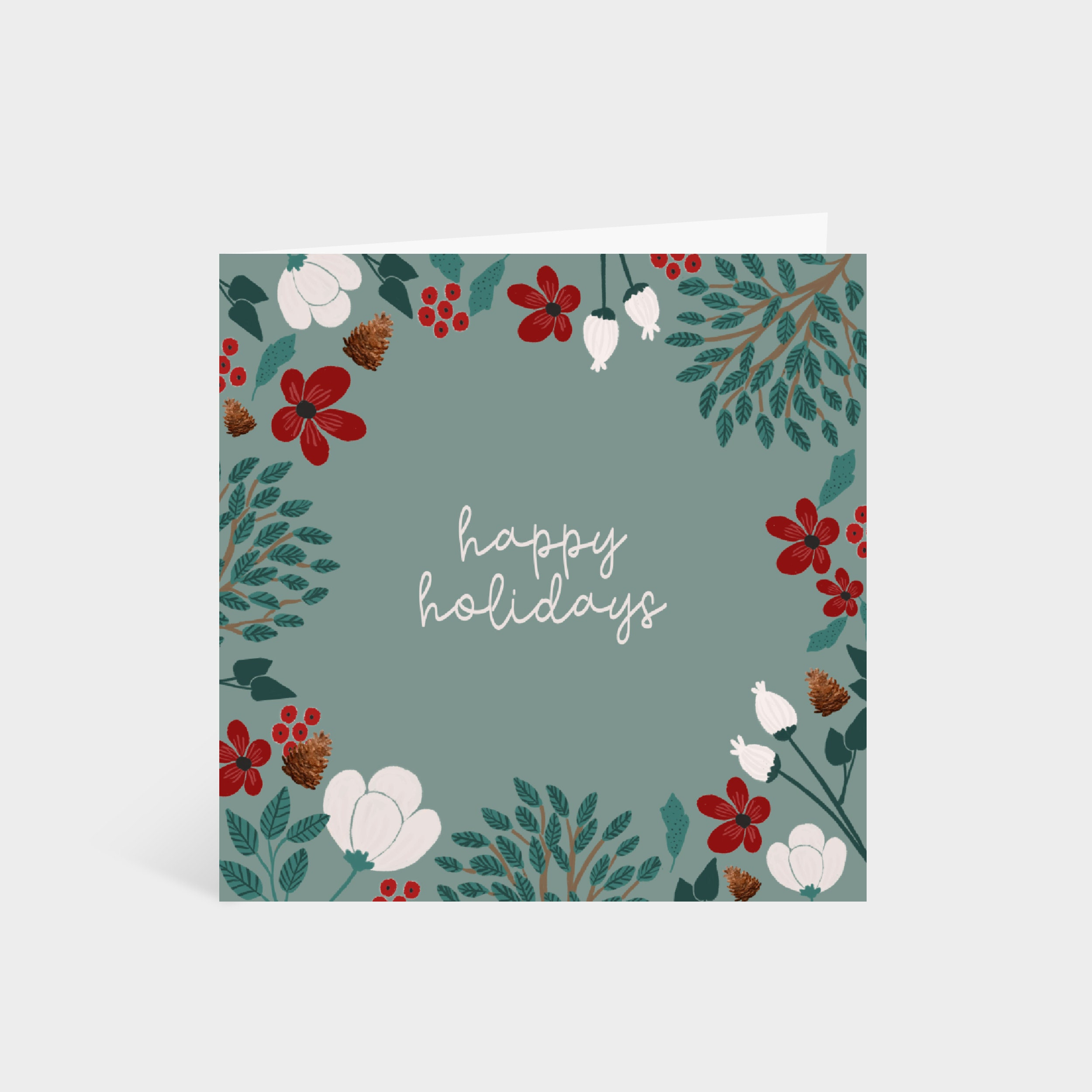 Standing square green card with a border of winter foliage and flowers, and the words 'Happy Holidays' in the centre
