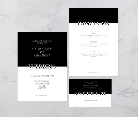 Flat lay photograph of a wedding save the date, invitation and information card. Each card is black and white, with headline text sitting between the two - both white and black.