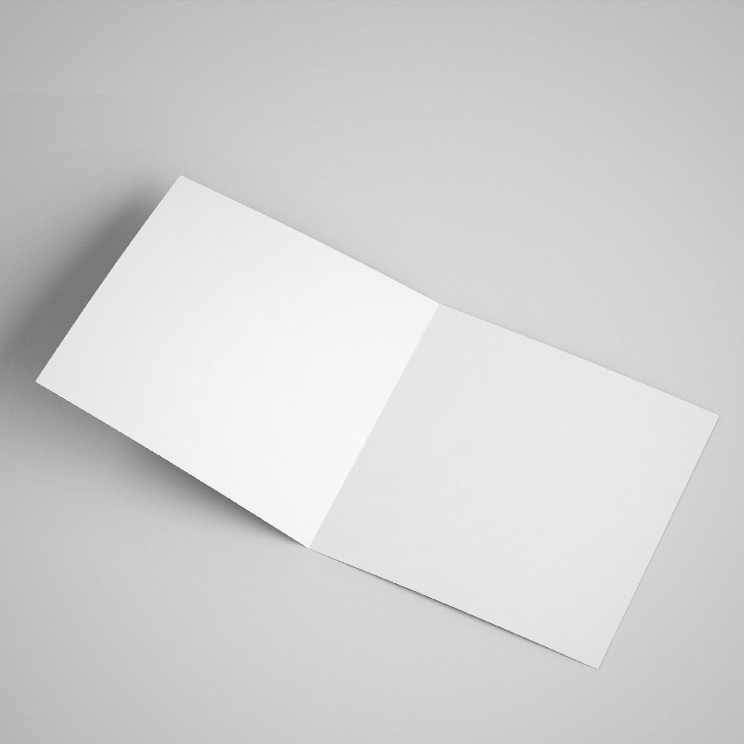 Open card showing that the inside of the card is completely blank