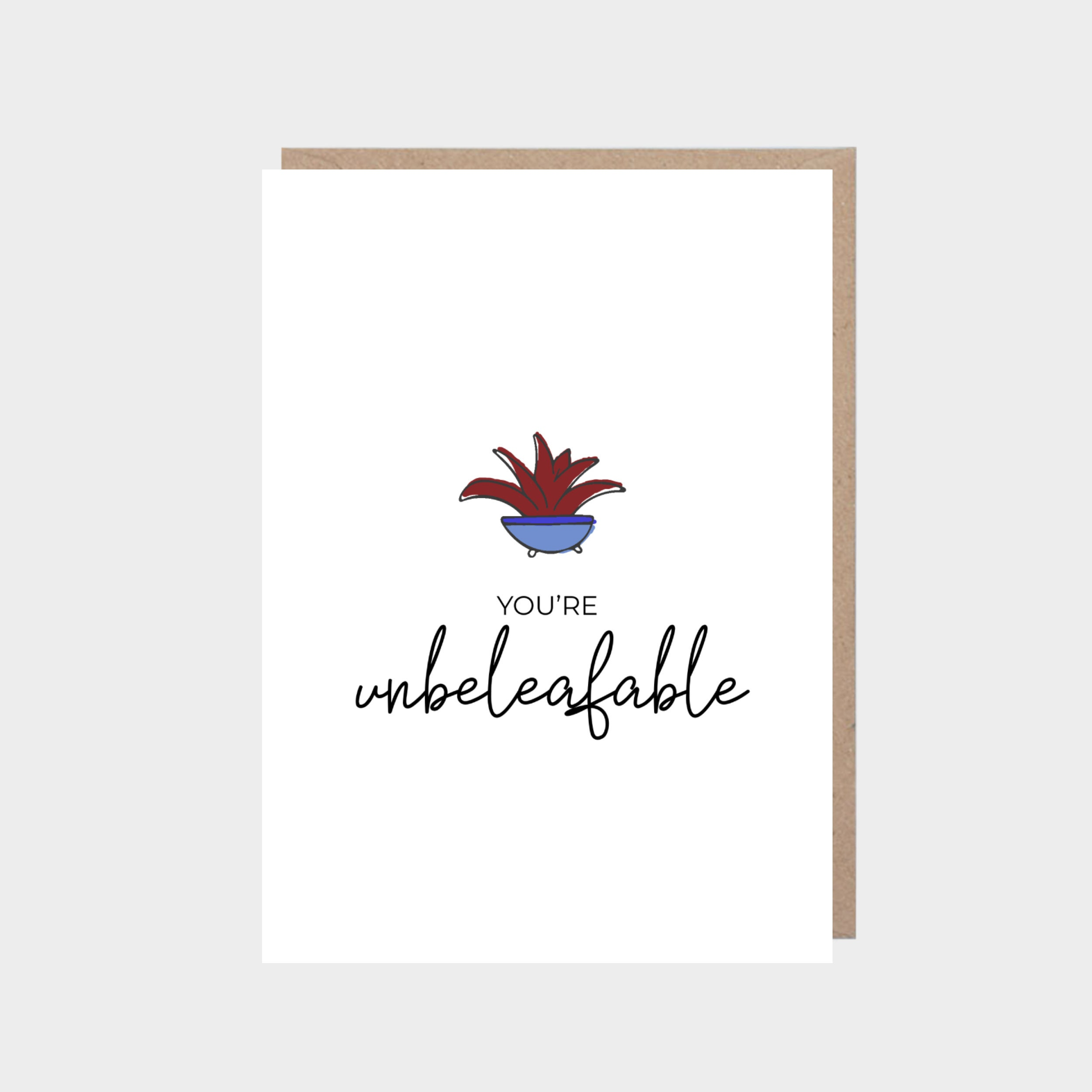 White card with an illustrated succulent plant, with a brown kraft envelope.