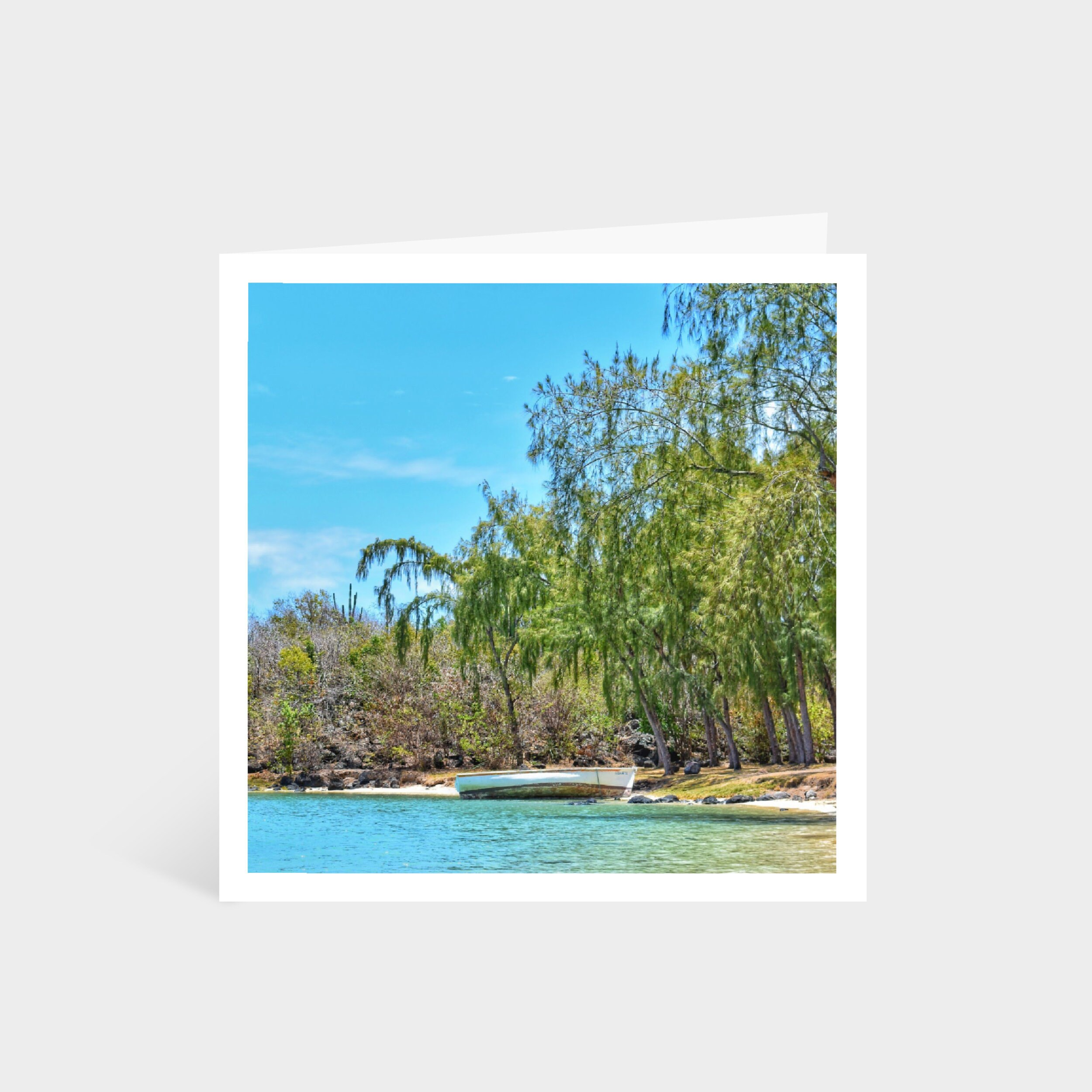 Standing square card with a photo of a beautiful tropical beach