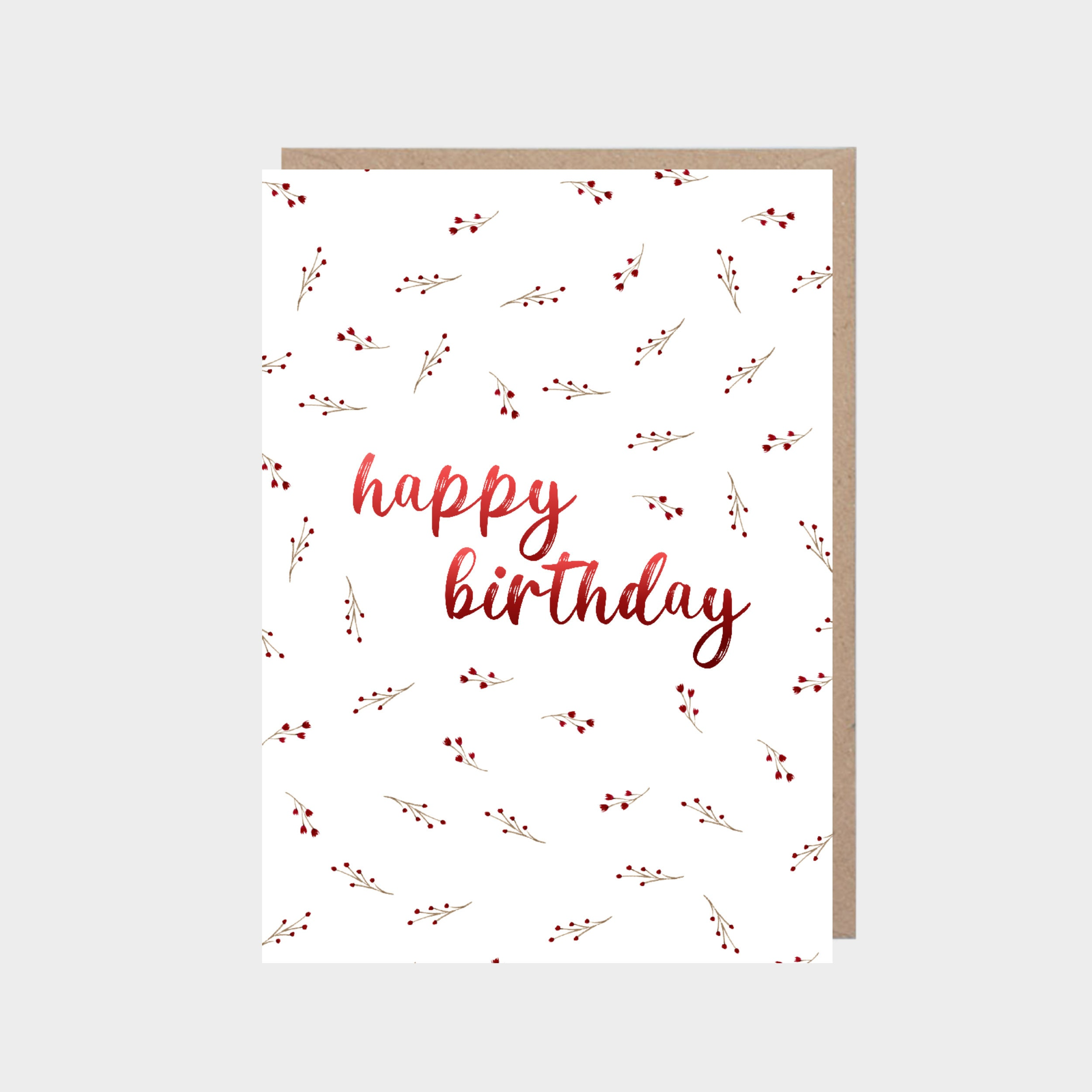 White card with a red wildflower pattern, with a brown kraft envelope.