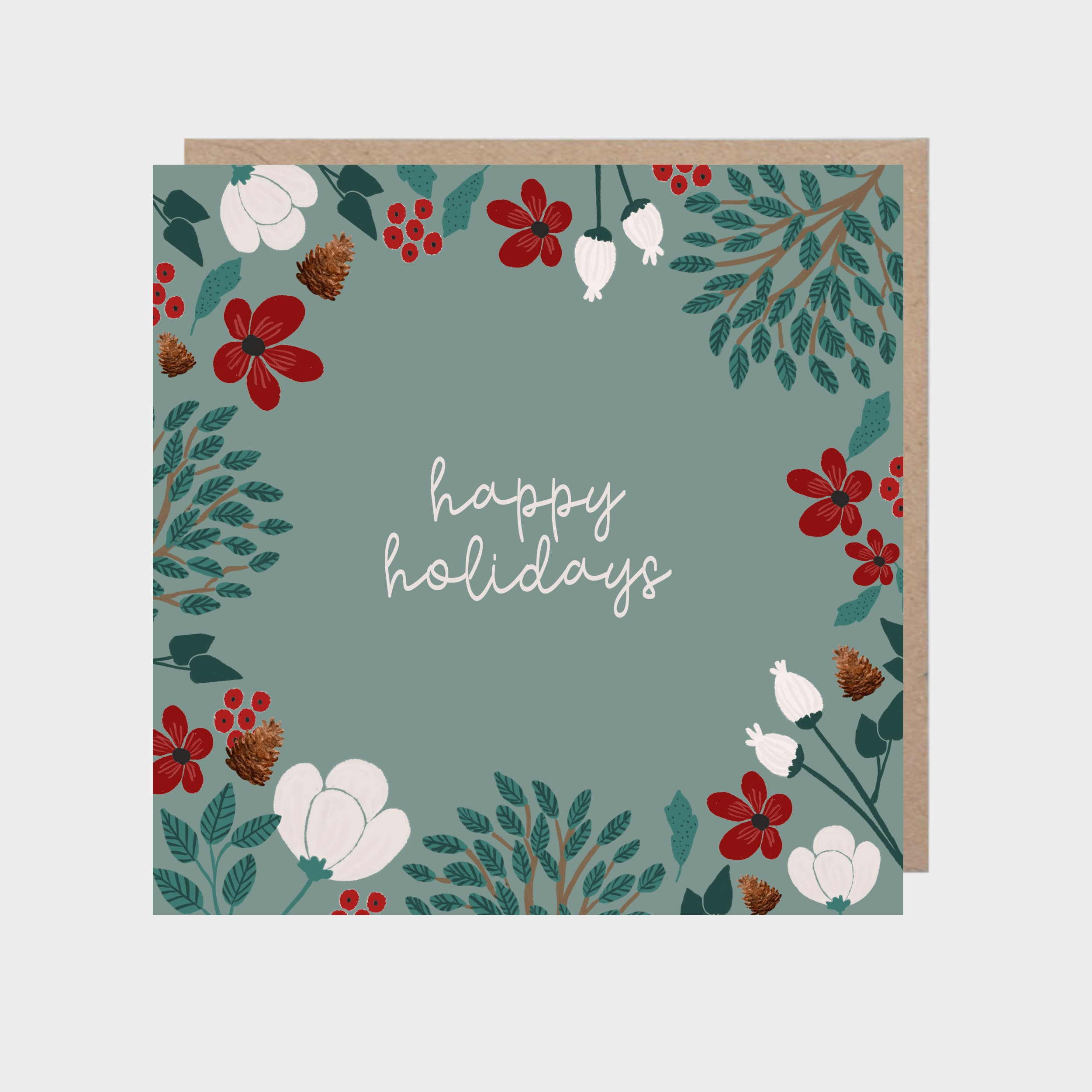Square green card with a border of winter foliage and flowers, with a brown kraft envelope