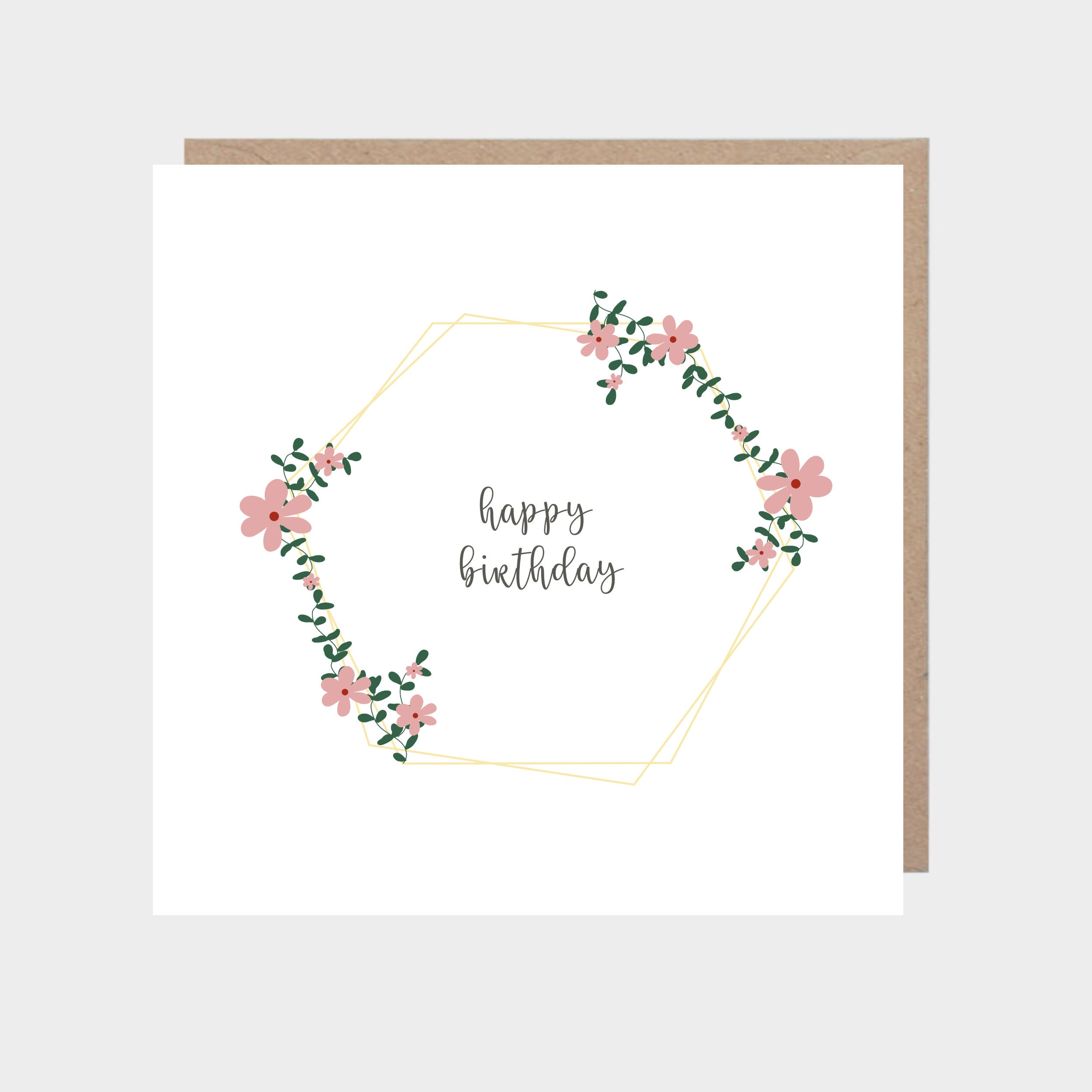 Square white card with a geometric floral design, with a brown kraft envelope