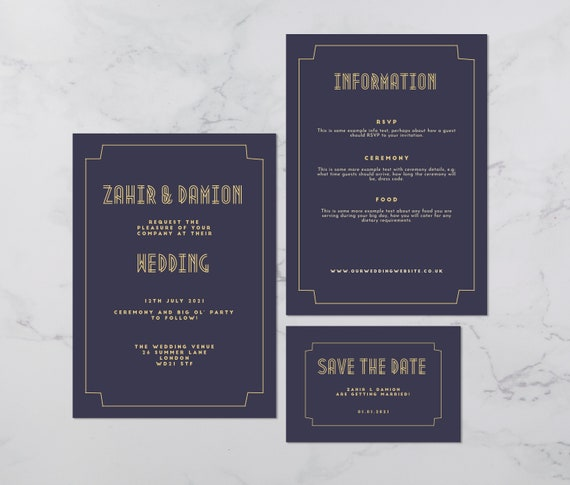 Flat lay photograph of a wedding save the date, invitation and information card. The design is art deco style, each card is mostly navy card with gold colour details.