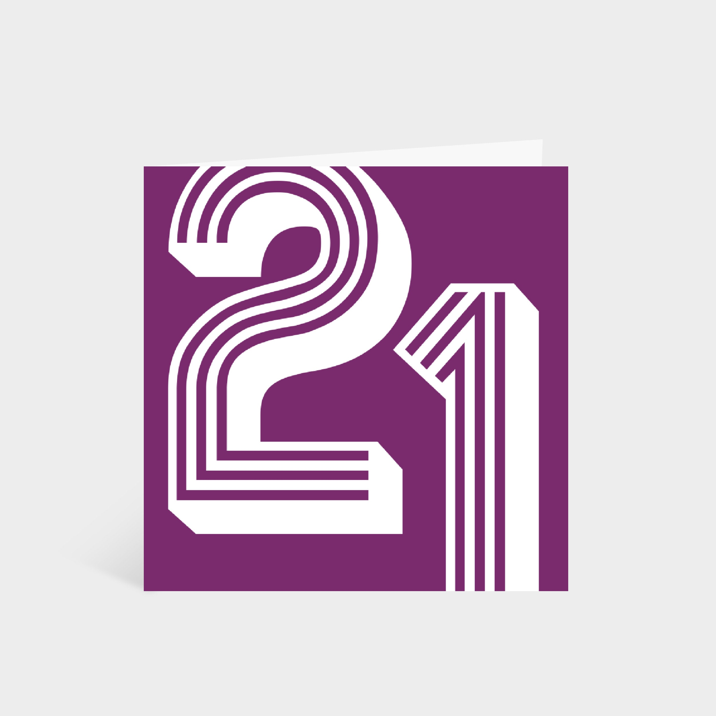 Standing square purple card with the number '21' in a white large retro font