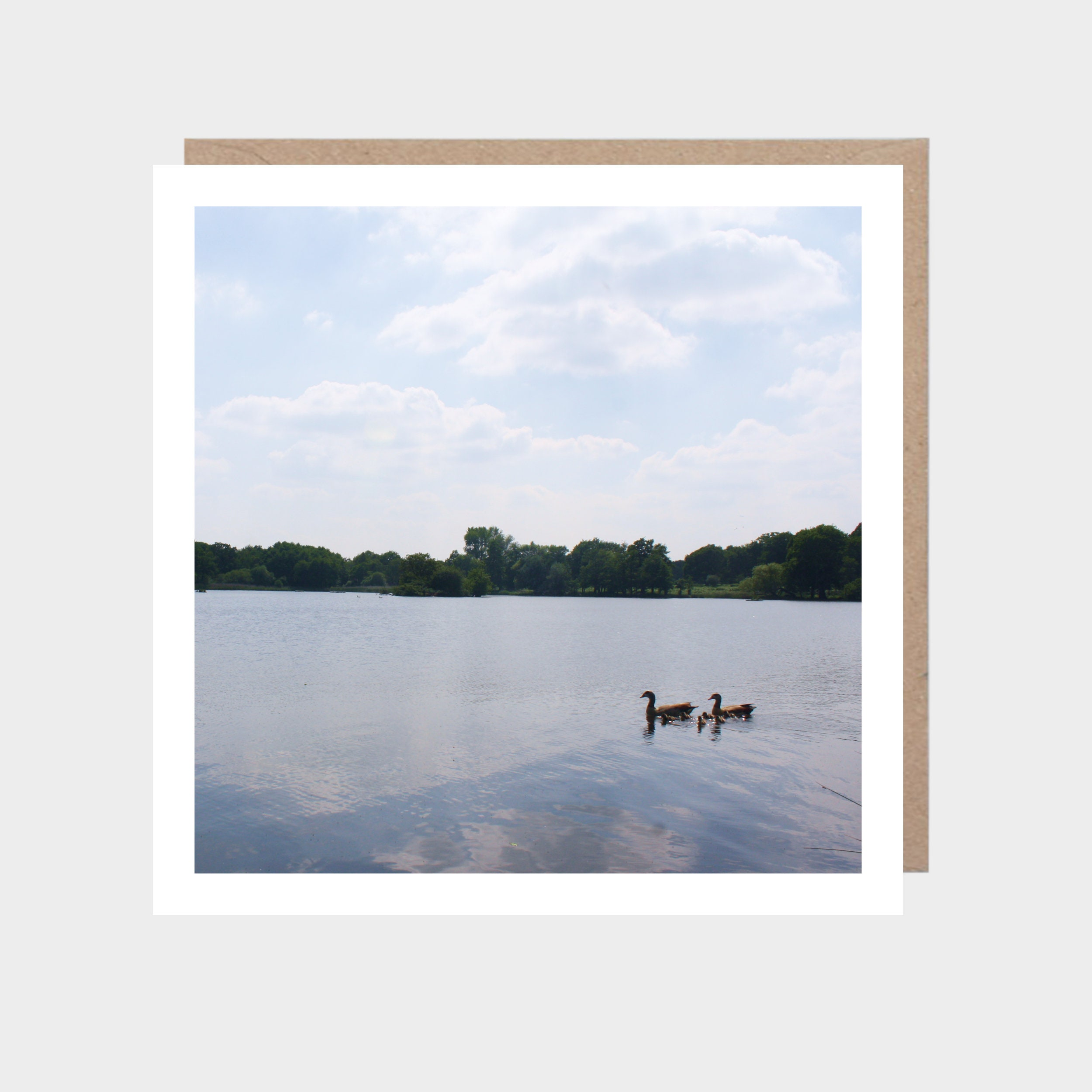 Square card with a photo of a lake within Richmond Park, with a brown kraft envelope