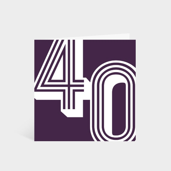 Standing square dark purple card with the number '40' in a white large retro font