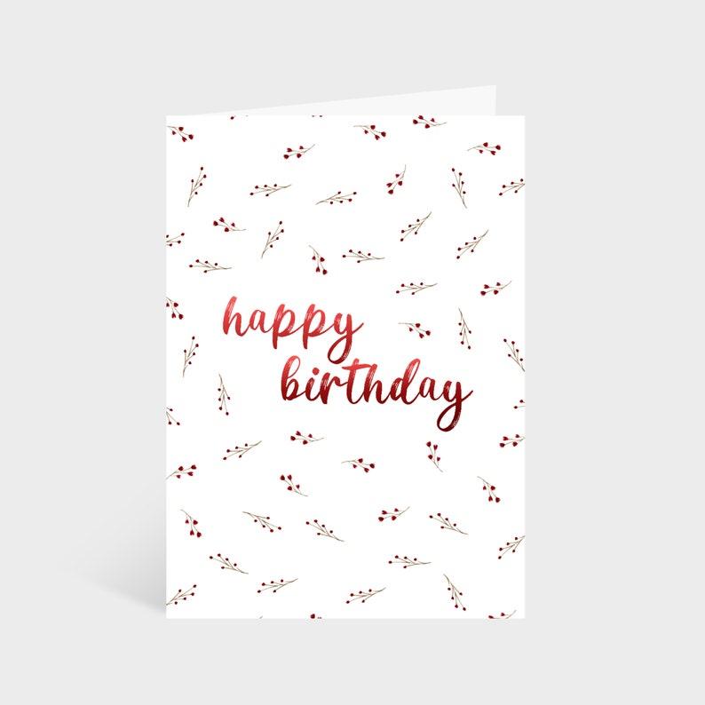 Wildflower Birthday Cards  Wildflower Illustrated Pattern Red Wildflowers