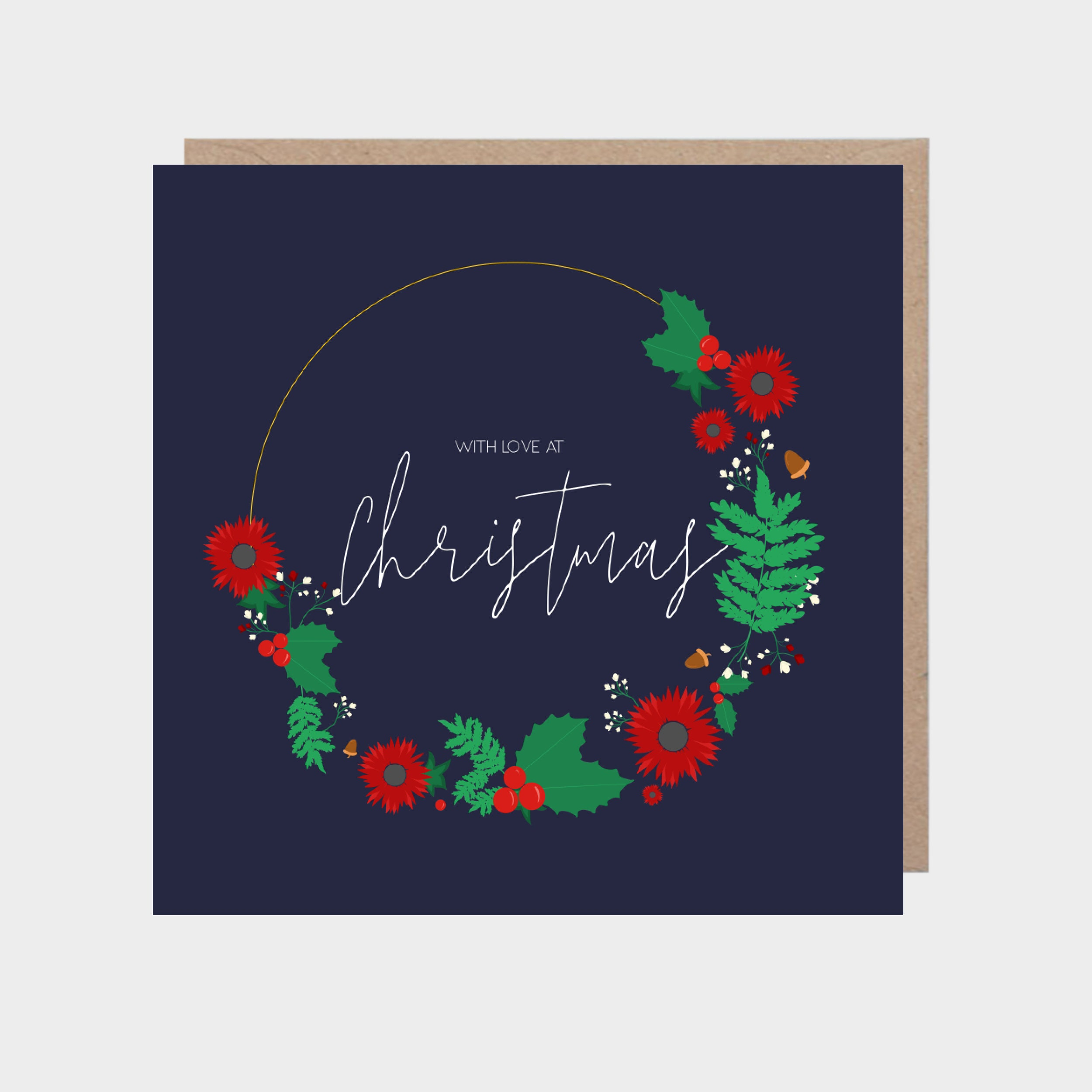 Dark blue illustrated Christmas wreath card, with a brown kraft envelope