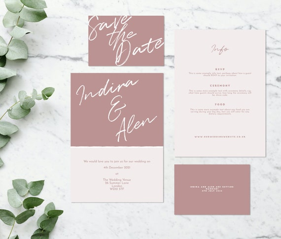 Flat lay photograph of the front and back of a wedding save the date, an invitation card and information card. Each card is two-tone blush pink