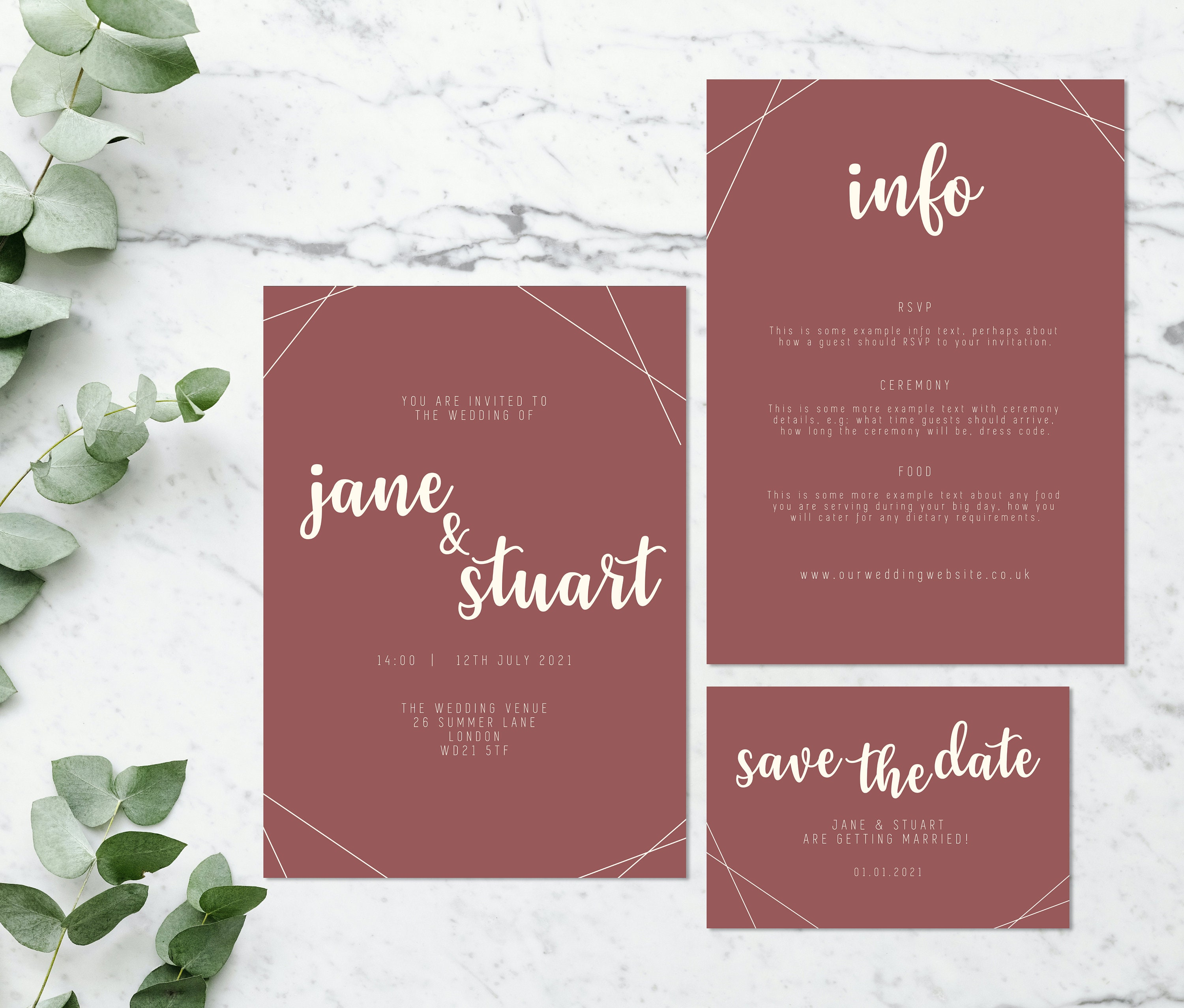 Flat lay photograph of a wedding save the date, invitation and information card. The design of each is mostly pink card with cream colour details.