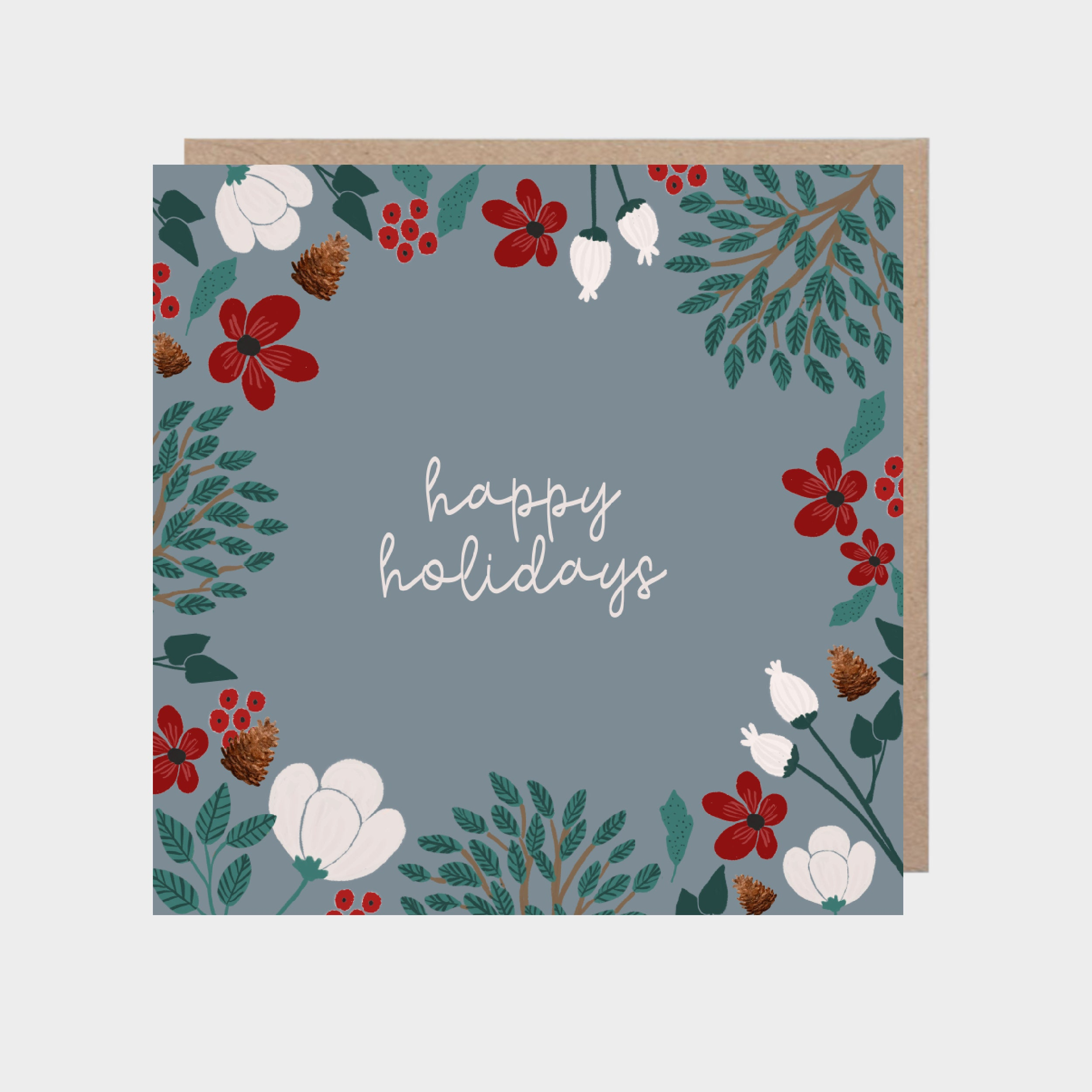 Square blue-grey card with a border of winter foliage and flowers, with a brown kraft envelope