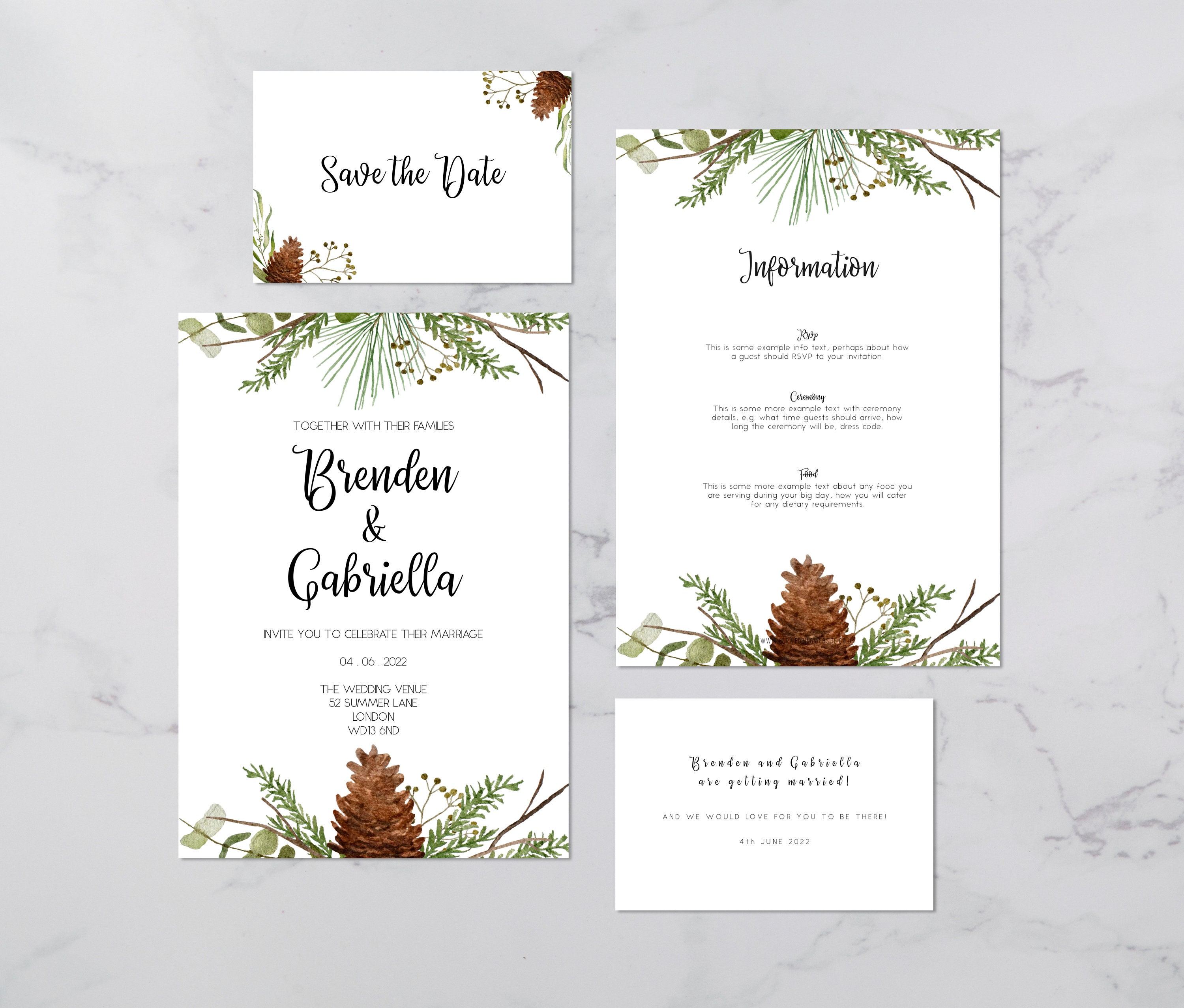 Flat lay photograph of the front and back of a wedding save the date, an invitation card and information card. Each card is white, featuring winter foliage illustrations