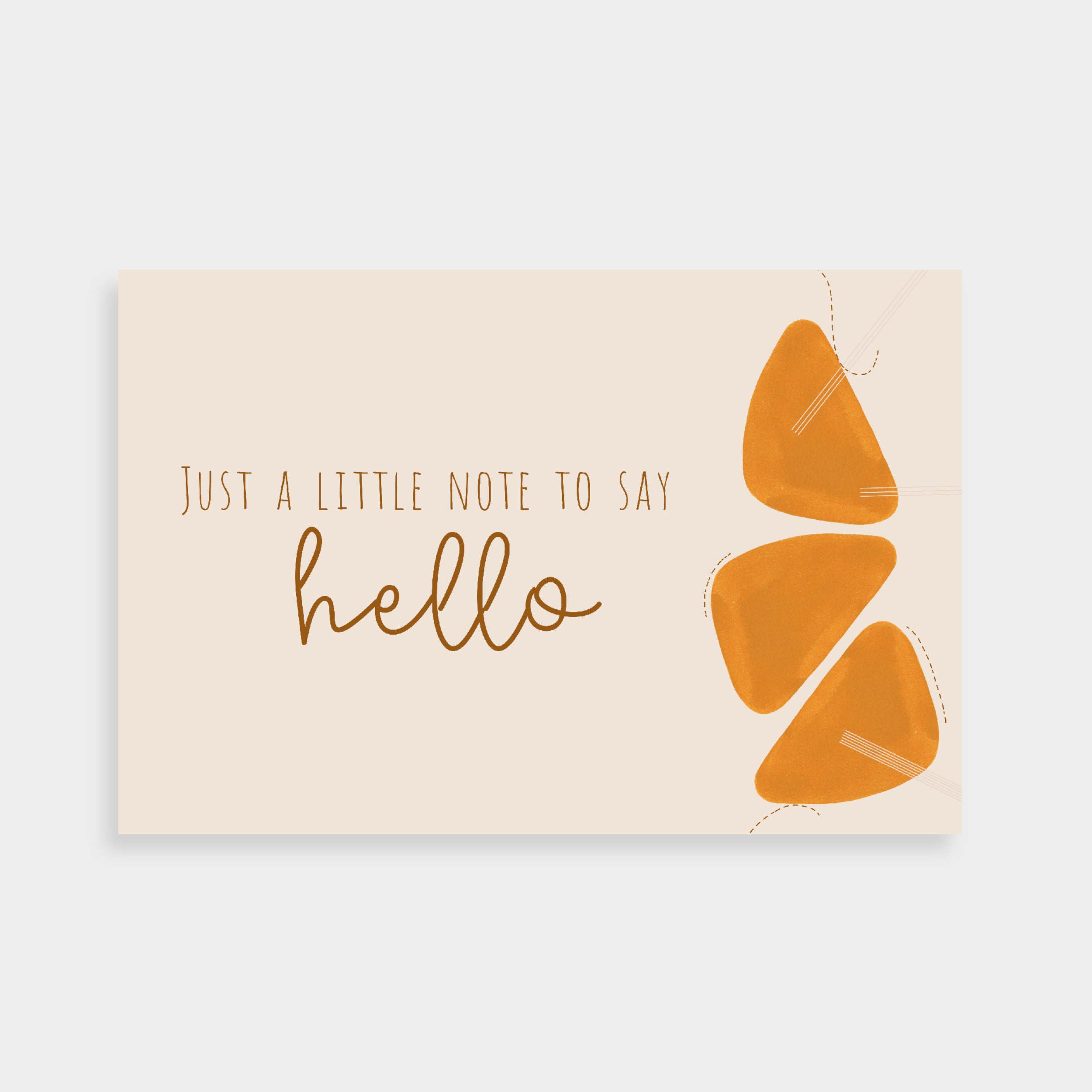 """Cream postcard with a stack of burnt orange shapes and abstract line drawings. Postcard says """"Just a little note to say hello""""."""