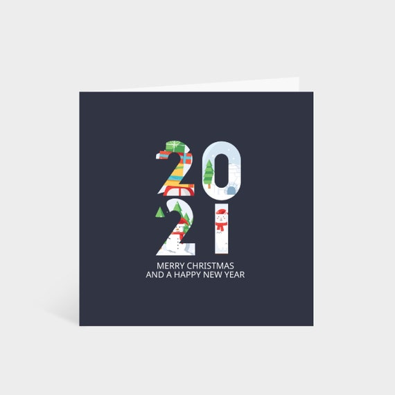 Standing square navy blue card with large 2021 numbers, decorated with festive illustrations, and the words 'Merry Christmas and a Happy New year' underneath