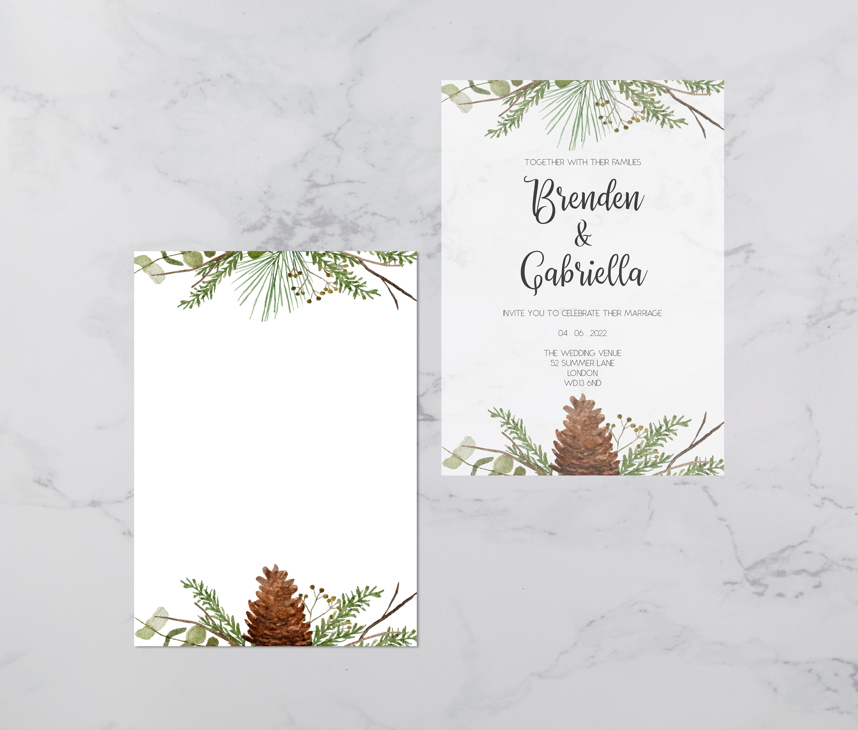 Flat lay photograph showing a white wedding invitation and the vellum overlay sheet separately.