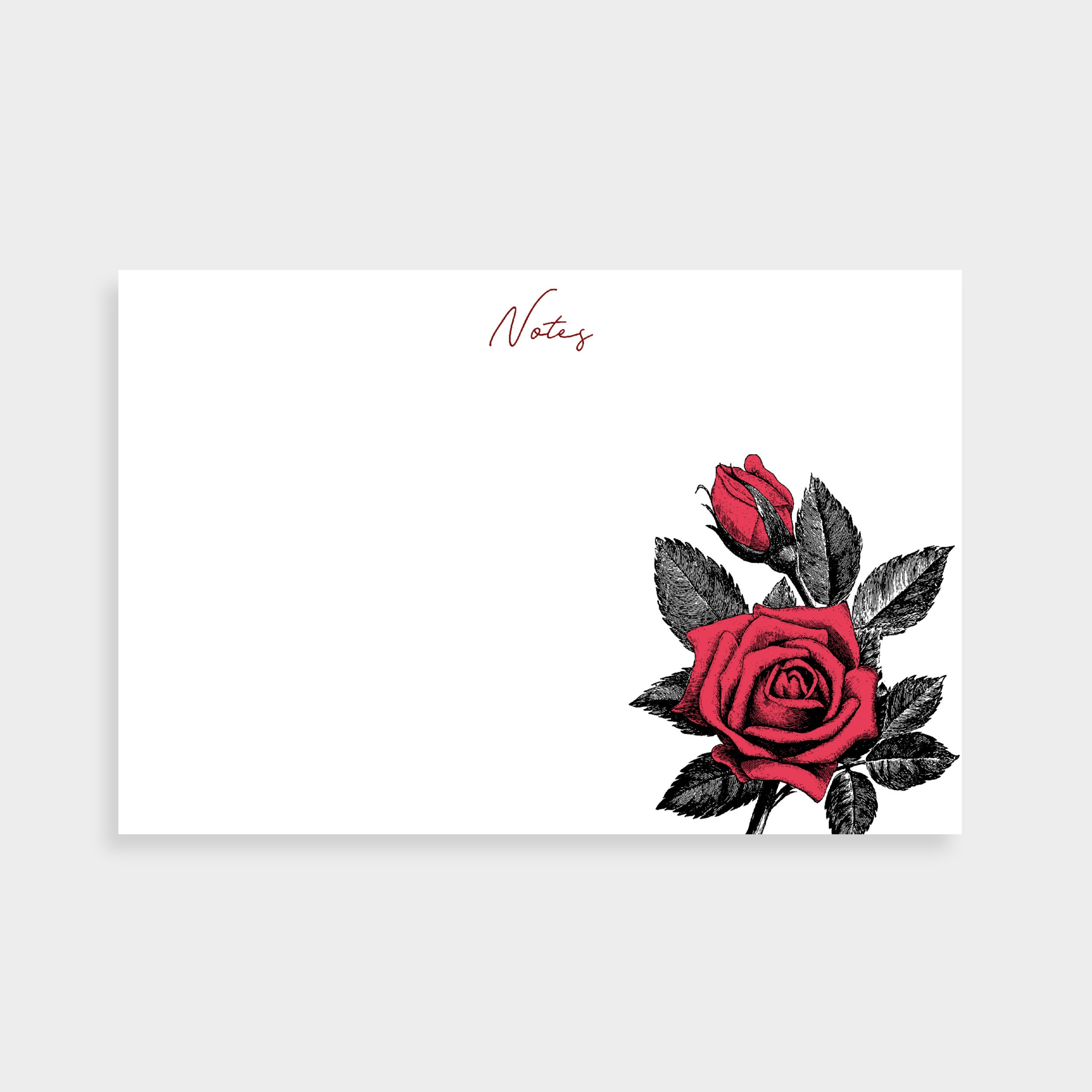 "White notecard with an illustration of a red rose in the bottom right. Notecard says ""Notes"" in the top centre."