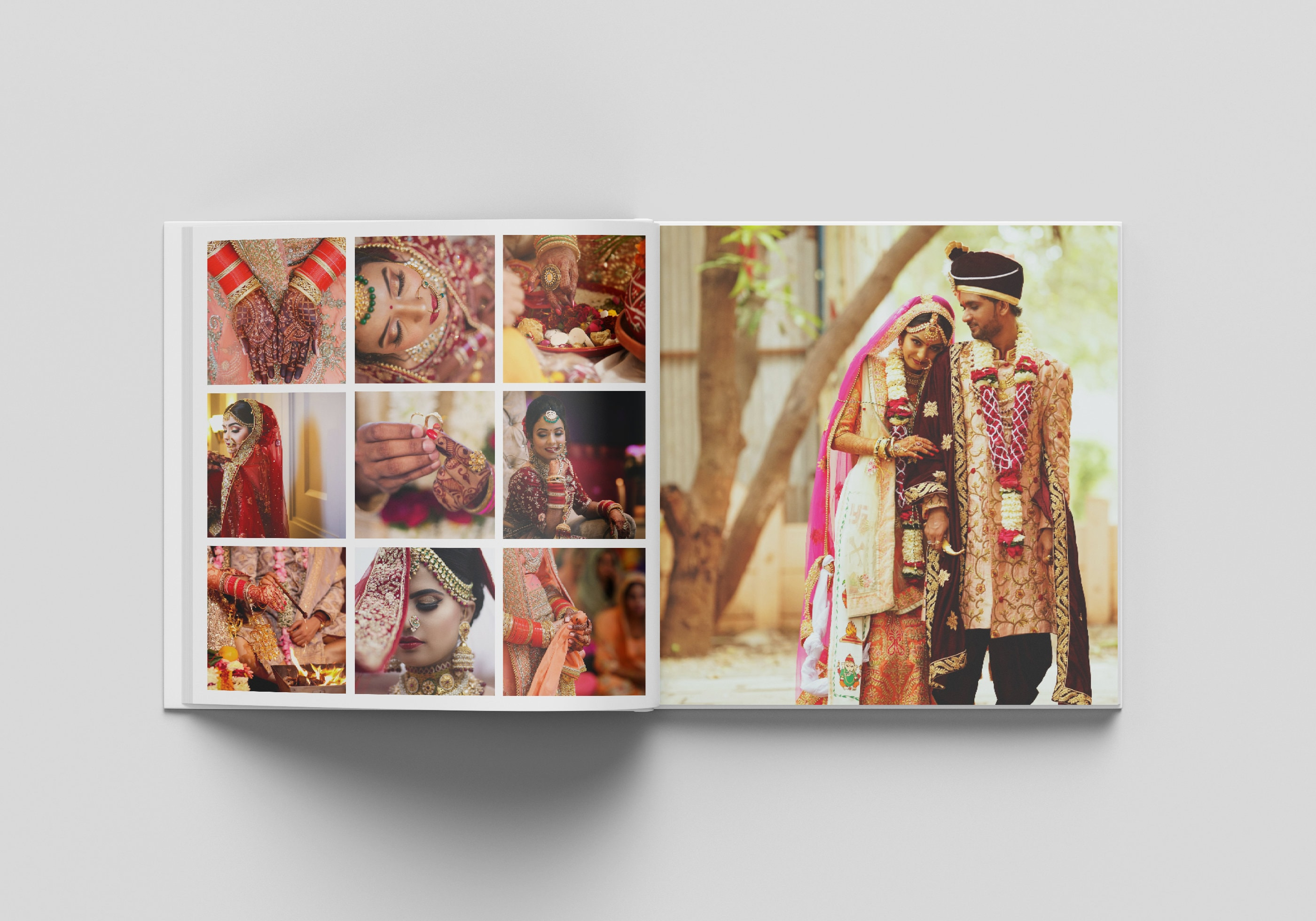 A photograph of an open book, with wedding photos printed on the pages inside. The left-hand page has multiple square images in a 3x3 grid.