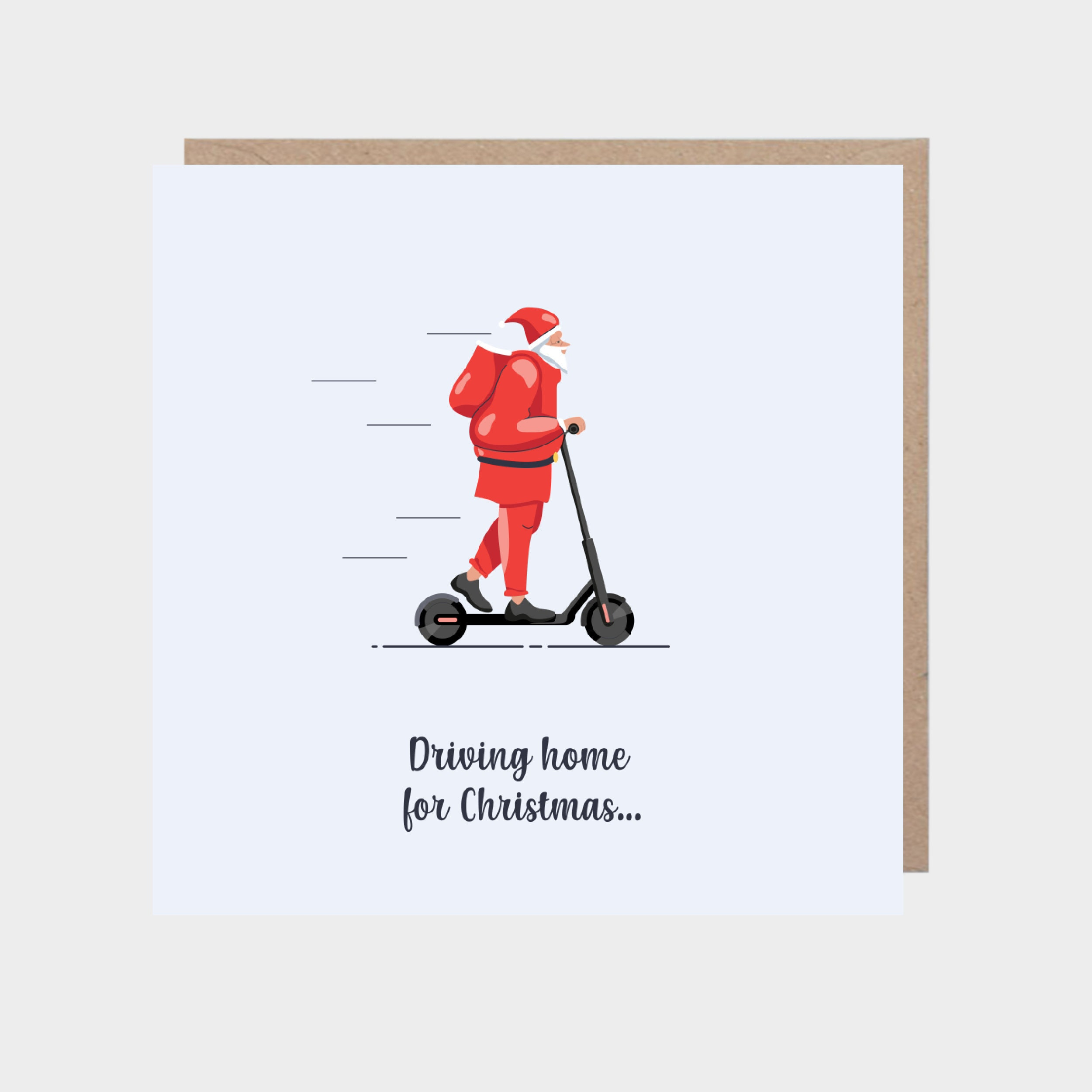 Square light blue card with an illustration of Santa on a scooter, with a brown kraft envelope